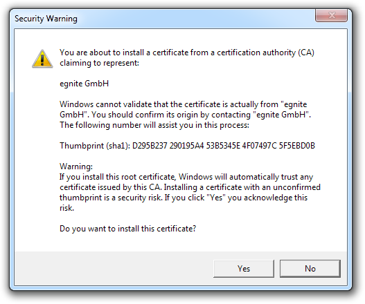 Self-Signed Certificates in IE