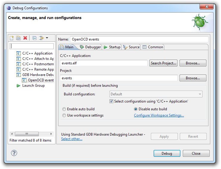 Configuring Eclipse for JTAG Debugging
